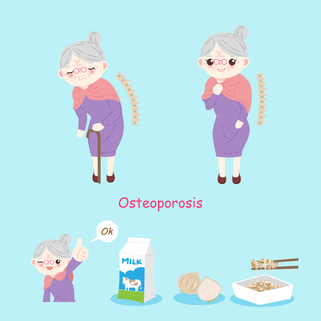 Old woman with osteoporosis on the blue background.