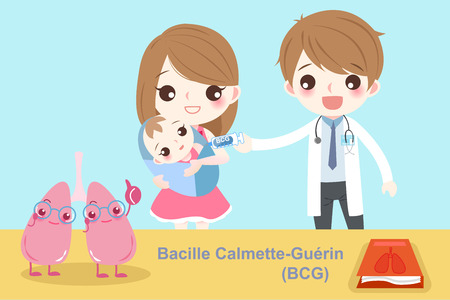 Baby with bacille calmette guerin prevention on the blue background.
