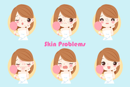 Woman with skin problem on the blue background illustration.
