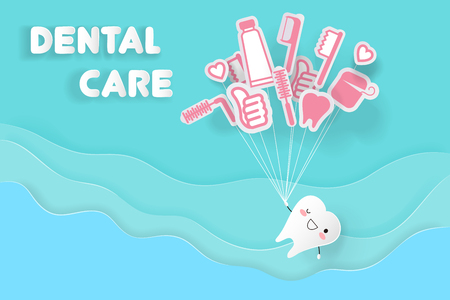 Tooth with dental care on the blue background illustration. Banco de Imagens - 95297474