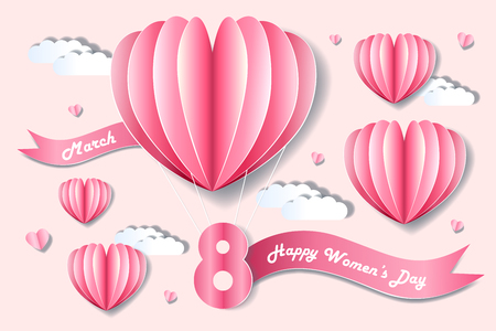 cartoon happy woman day on the pink background Illustration