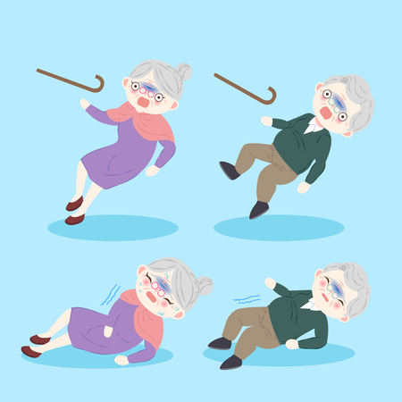 starzy ludzie z osteoporozą na niebieskim tle Ilustracje wektorowe