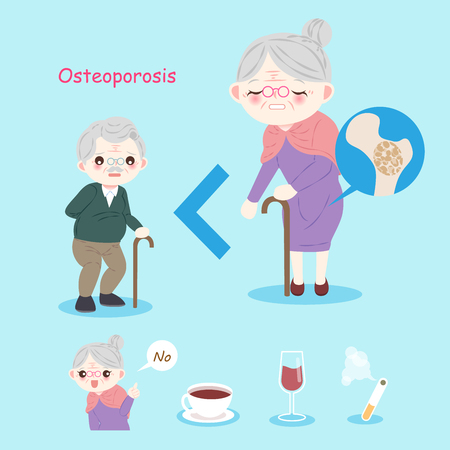 old people with osteoporosis problem on the blue background Stock Illustratie