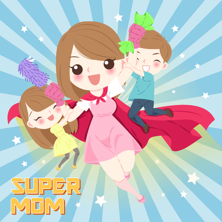 Cute cartoon mom with children on the blue background