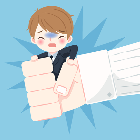 Business man with bullying concept on the blue background