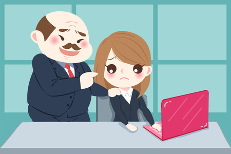 Cartoon boss harassing woman in the office Stock Illustratie