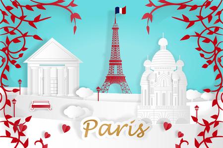 Cartoon Paris city for your travel concept Illusztráció