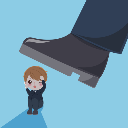Businessman with bullying concept on the blue background