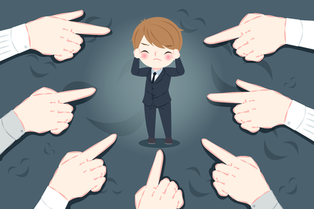 Businessman with bullying concept on the black background