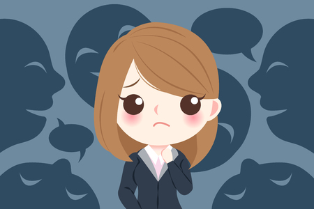 Businesswoman with bullying concept on the black background Illustration