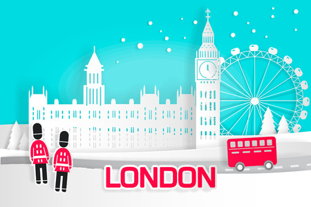 Cute cartoon London city for your travel concept 向量圖像