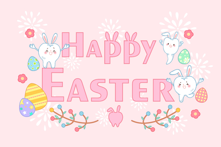 Cute cartoon tooth with happy easter for your holiday concept