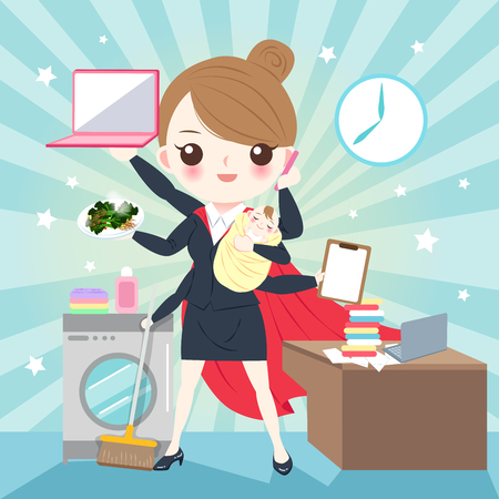 Cartoon super business woman on the blue background