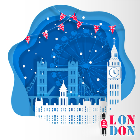 Cute cartoon London city for your travel concept Vettoriali