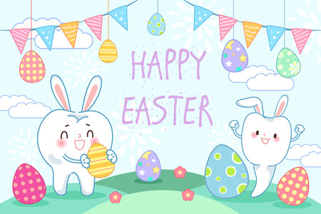 Cute cartoon tooth with happy easter for your holiday concept Vector Illustration