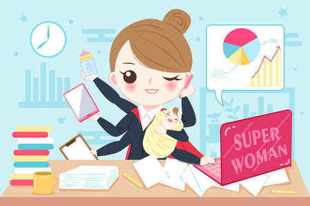 Cartoon super business woman work in the office