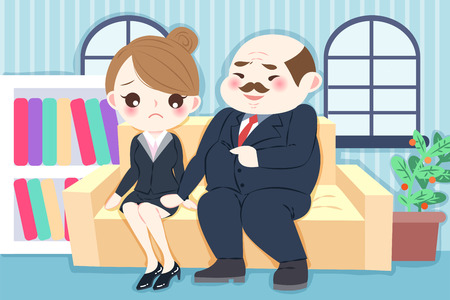 Cartoon boss harassing woman in the office 矢量图像