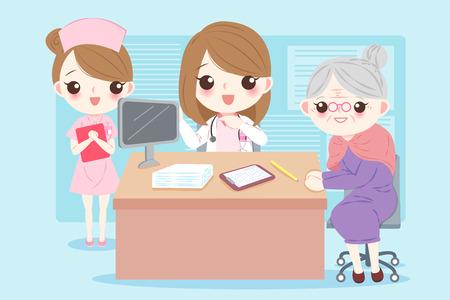 Vrouw cartoon arts met patiënt in het ziekenhuis Stockfoto - 96251403