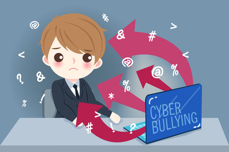 Businessman with cyber bullying on the blue background