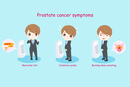 Businessman with prostate symptoms on the green background
