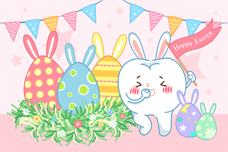 Cute cartoon tooth with happy Easter for your holiday concept Illustration