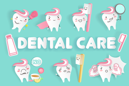 Cartoon tooth with dental care on the green background 向量圖像