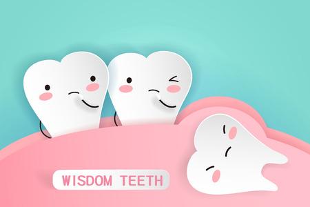 Kreskówka zęby mądrości z pojęciem zdrowia