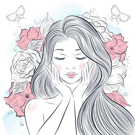 Retrato de joven bella mujer wirh flores