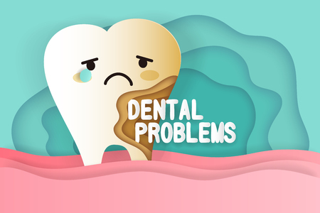 Tooth with decay problems on he green background