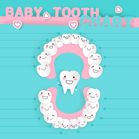 Cartoon baby tooth on the blue background Vectores