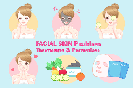 Woman with facial skin problems on the blue background Illustration