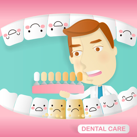 Doctor with dental care on the green background