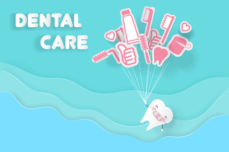 Tooth wear brace with dental care on the blue background Illustration