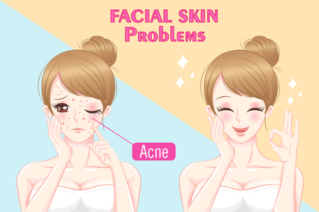 Cartoon woman with skin problems before and after Vettoriali
