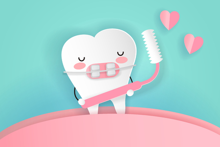 Tooth wear braces with brush on the green background