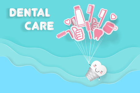 Implant tooth with dental care on the blue background Illustration