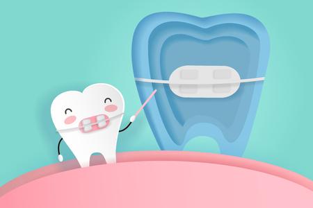 De slijtagesteun van de tand met tandzorg op de groene achtergrond