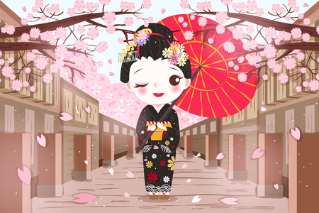 cute cartoon geisha wear kimono with cherry blossoms Standard-Bild - 103599138