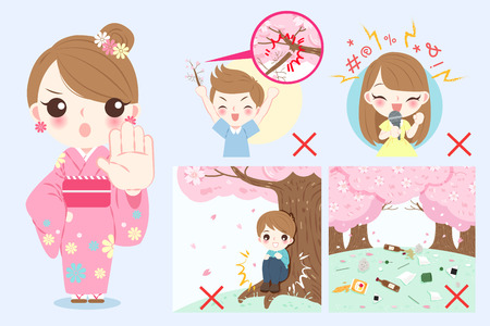 Set of cartoons of a woman wear kimono with cherry blossoms, girl and a boy