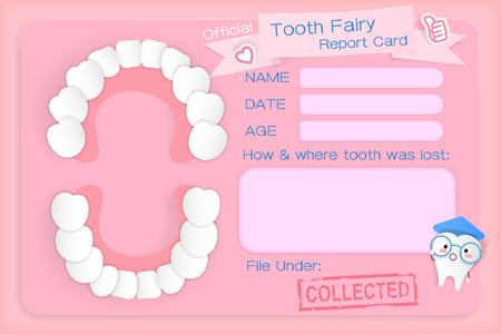 Poster of tooth fairy report card on the pink background