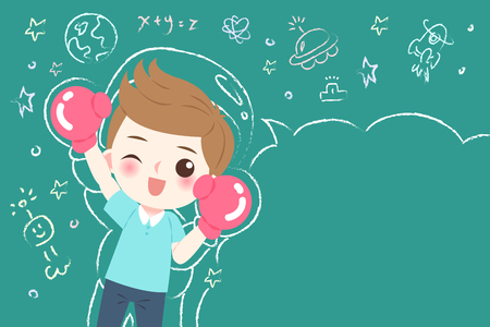 niedlicher Cartoonjunge Student tragen Handschuh mit Tafel