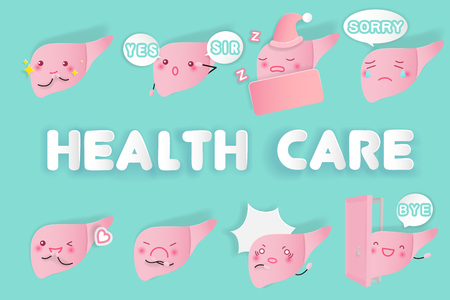 cute cartoon liver with health care on the green background