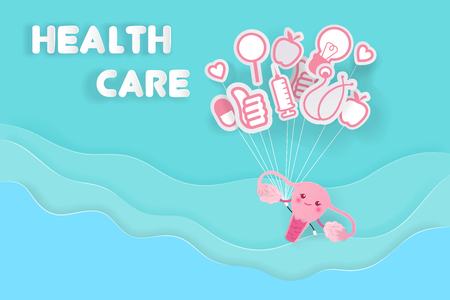 cute cartoon uterus with health care on the blue background