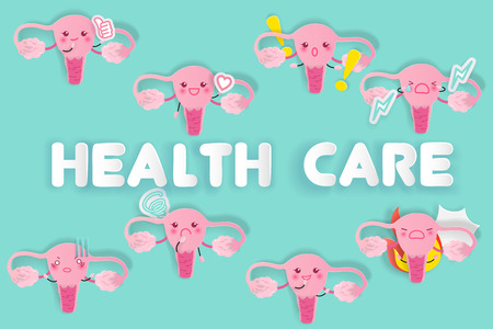 Cute cartoon uterus with health care on green background Illustration