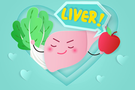 cute cartoon liver on the green background