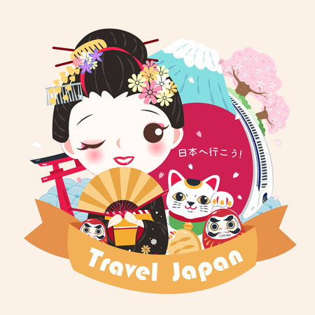 cute cartoon geisha with travel japan in the japanese word on green background
