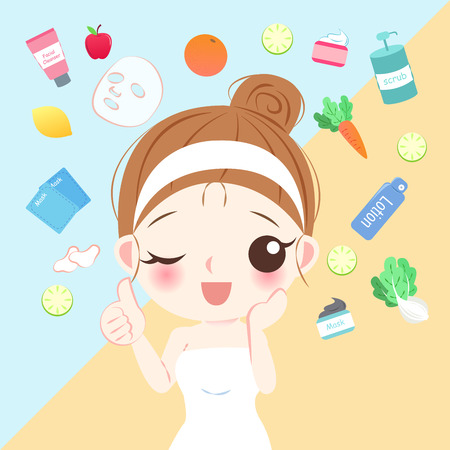 Beauty cartoon skin care woman on the yellow background