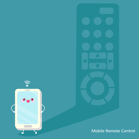 Mobile remote control on the blue background