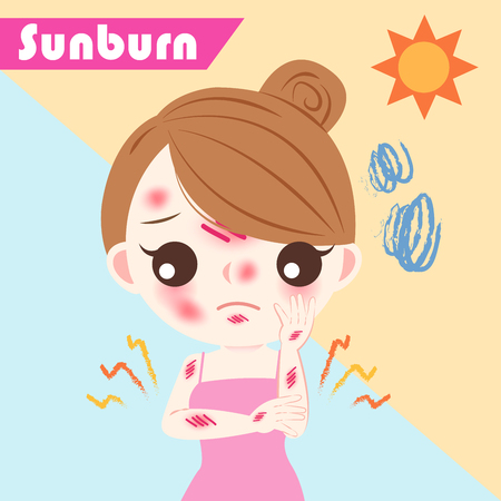 Cute cartoon woman with sunburn problem on blue background