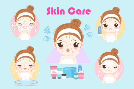 Cartoon woman with acne problem before and after Vectores